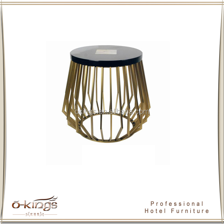 Modern coffee table round side table stone top metal base