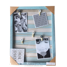 handmade cheap water brush colorful solid wooden collage photo frame display frame