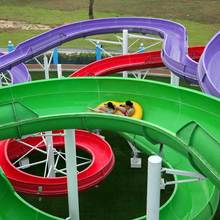 New design hot sale fiberglass water slides+great fun open spiral water slide
