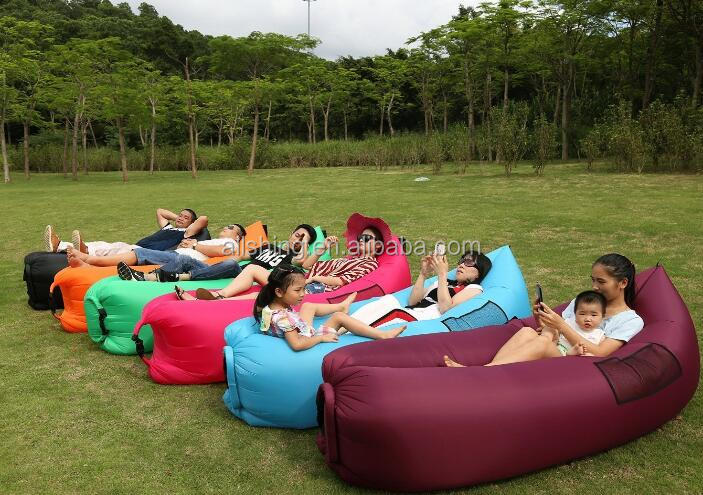 Wholesale Inflatable Portable Lazy Lounger with two Pockets and One hanger belt, Air Sleep sofa Laybag Couch Bed, Nylon