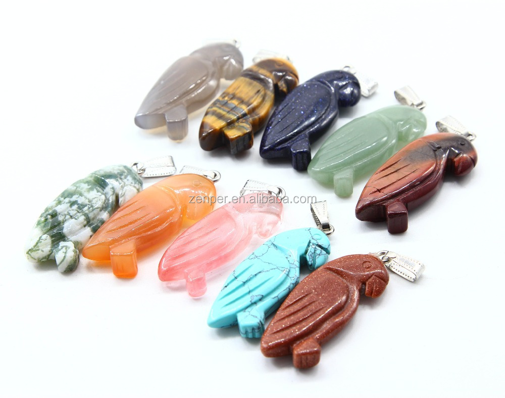 Wholesale natural stone Animal pendants for jewelry making charms owl pendants