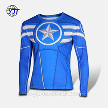Sportswear Manufacturer Men Gym Dry Fit Custom T Shirt 3d Printing Sublimination T Shirt Compression Long Sleeves Tights Tops