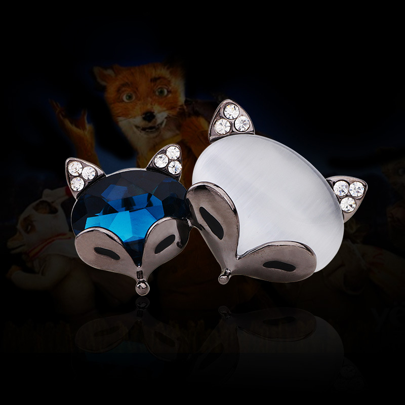 Crystal Brooch for women, Zinc <strong>Alloy</strong>, two fox head design crystal brooch free shipping