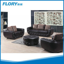 Big Puff leather sofa design with crystal button F838#
