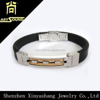 new design men's gold wire stainless steel rubber bracelet