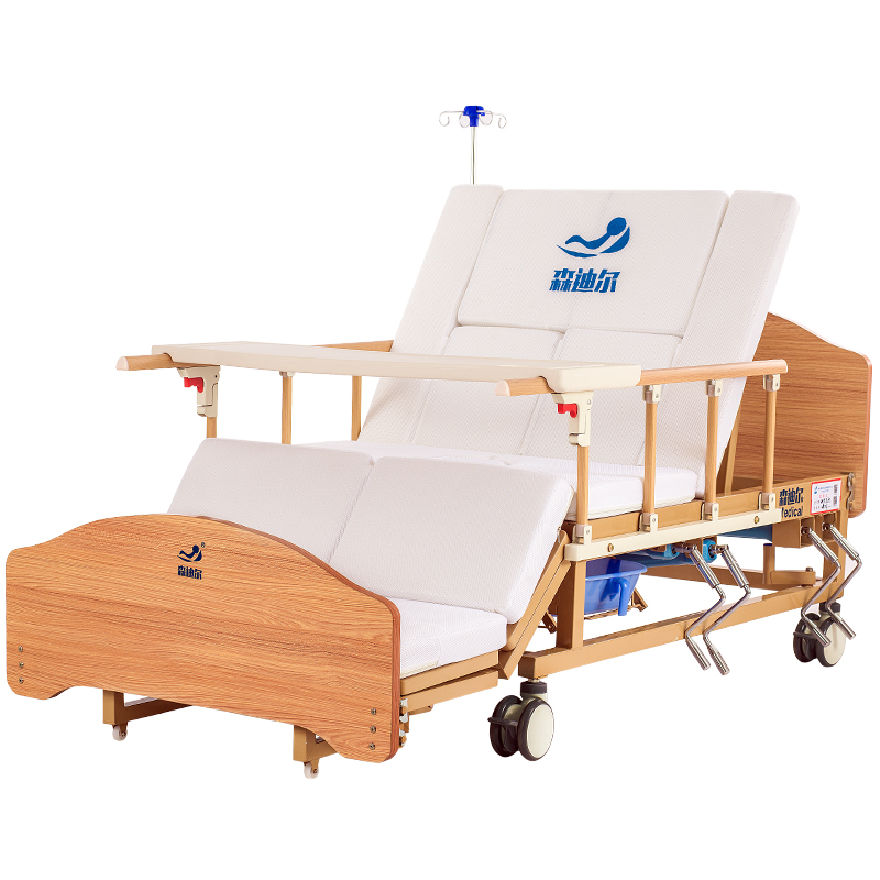 cheap price folding elderly care manual rotating medical nursing bed with toilet