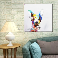 Abstract animal canvas painting designs great Lovely pet dog wall picture for bedroom artwork painting