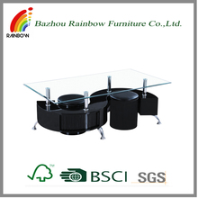 Wholesale contemporary S shaped MDF covered PU glass top coffee table with stools Bazhou Chinese supplier