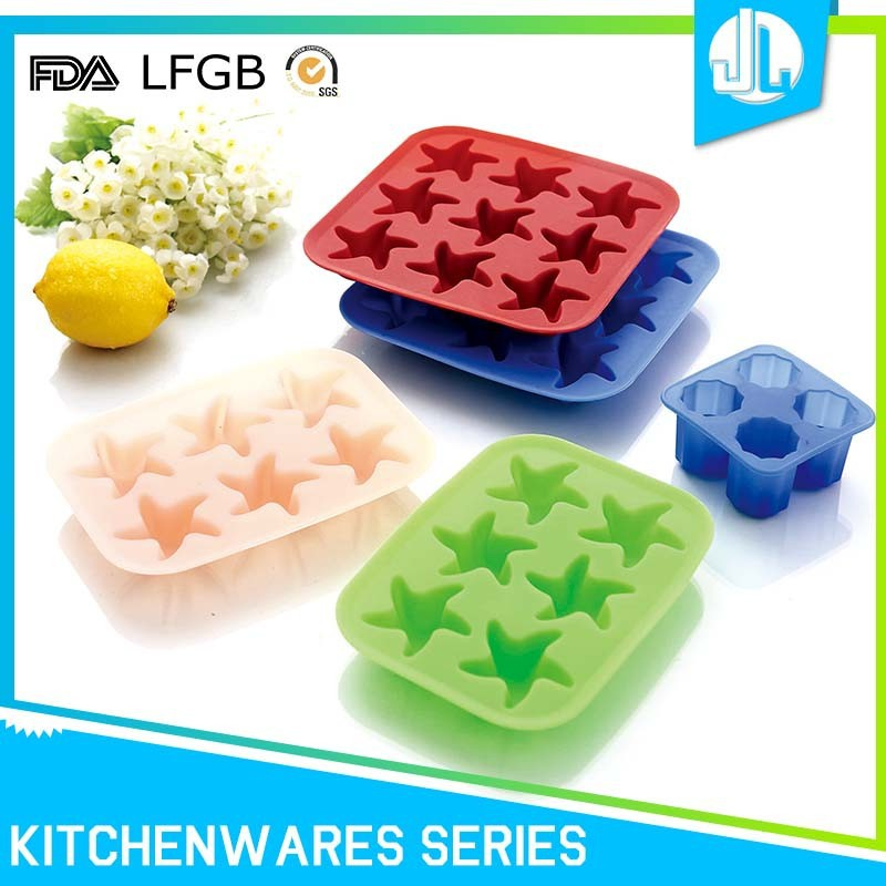 Non-stick high quality 6 carves star silicone ice cube tray
