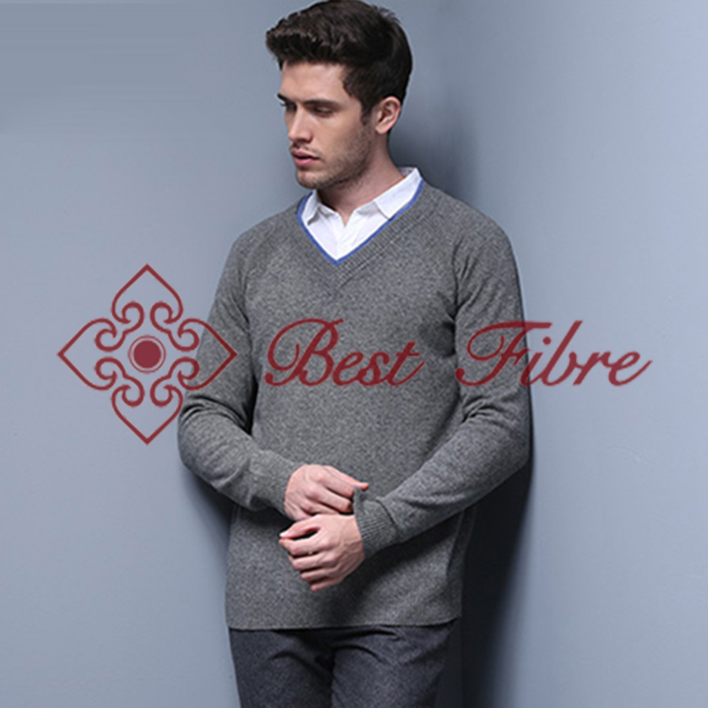 Fashion 12GG Knitted Elegant Brief V-Neck Pullover Winter Thick Sweater For Man