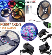 Hot Selling waterproof 1M-5M 300LED SMD 2835/3528 RGB/White Flexible LED Strip Light+Remote+Power Supply