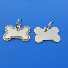 Custom Laser Engraved IDs Metal Crystal Dog Collar Tag