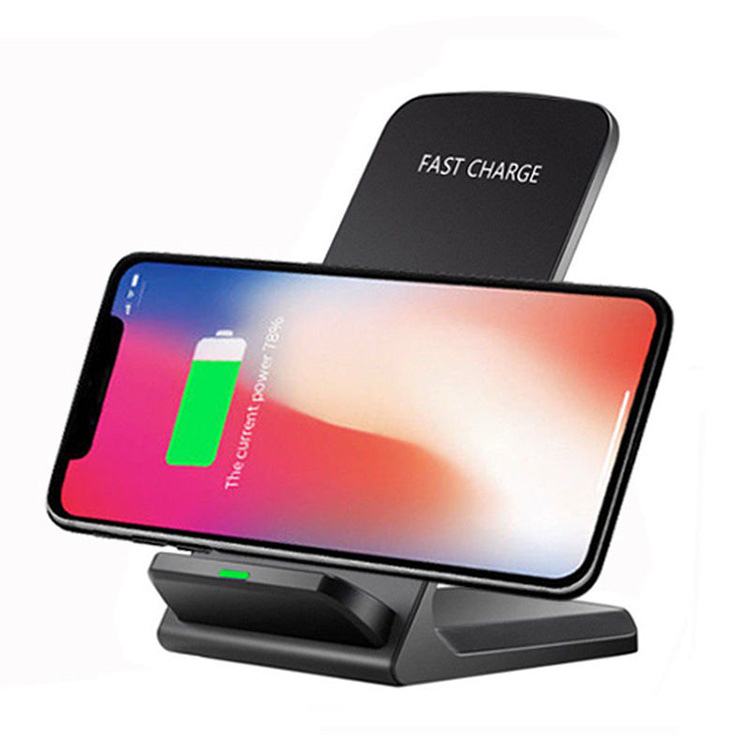 QI Wireless Charger Quick Charge 2.0 Fast Charging for Samsung S9 2-Coils Stand