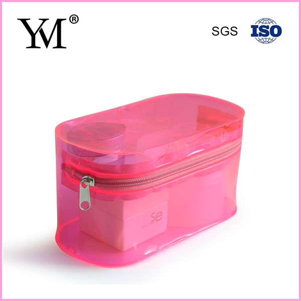 Cosmetics used round pink pvc clear bag with zipper