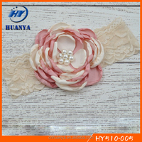 Latest fancy elastic soft lace pink infant cream baby piped flower toddler headband