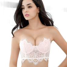 strapless lace anti slip bralette cover push up breast nude bra