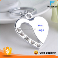 Make Your Logo Fashion Design Silver Crystal Heart Keyring Manufacturer