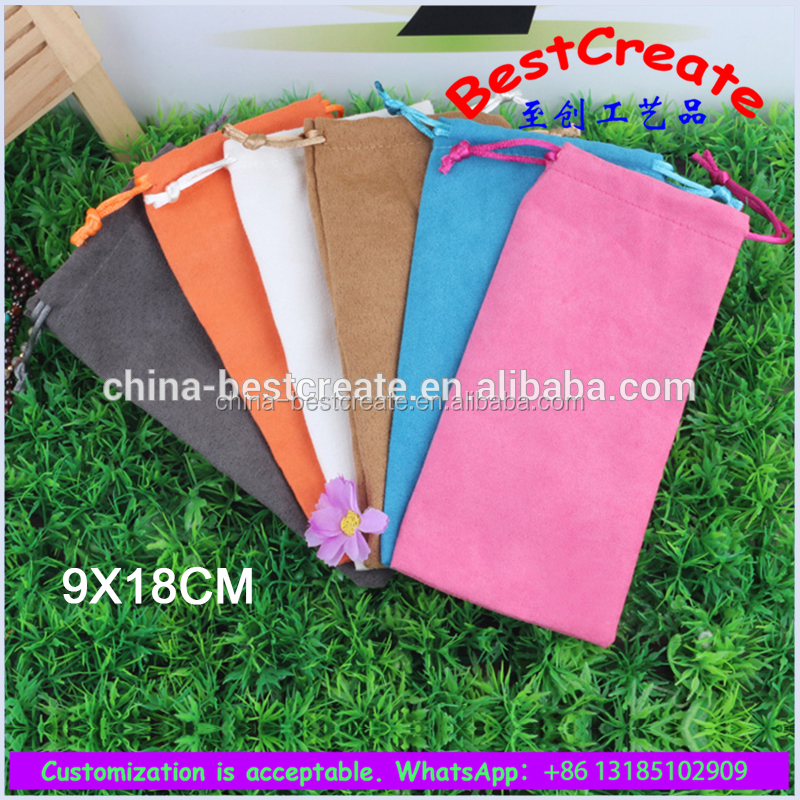 China factory customized Multi colourful suede drawstring storage bags for lip brush