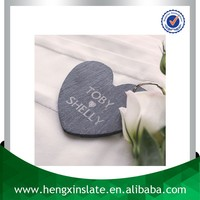 Factory Direct Price 10*10cm Decorative Custom Natural Personalised Slate Heart Keyring (Customized Laser Design)