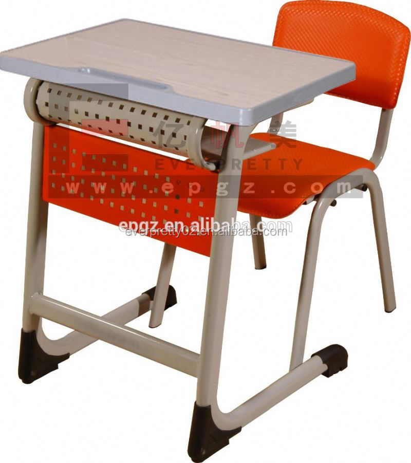 school furniture /single student desk and chair sf / school student shelf desk and chair