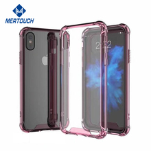 2017 new products hard Acrylic crystal soft TPU bumper clear transparent mobile phone case for iPhone X with 4 anti-knock