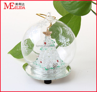 painted programmable LED clear glass christmas ball lights/color changing