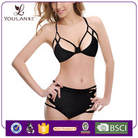 Hot Sales Pretty Pattern Sexy Bandage Halter Neck Black Sexy Bra And Bikini Sets
