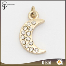 Hot sale fashion charm pendants moon gold plated clear rhinestone