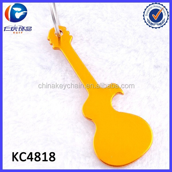 Guitar shaped promotional bottle opener key chain