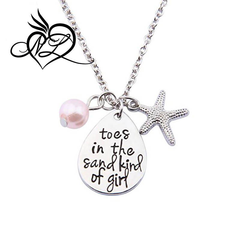 Toes In The Sand Kind of Girl Engraved Charms Necklace Beach Jewelry with Starfish