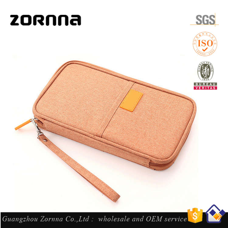 New Model Orange Promote Polyester Document Organizer Personalized Travel Passport Holder Wallet