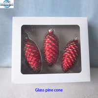 Mercury glass christmas crafts pine cone ornament in box