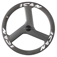 High Quality Carbon Track Bicycle Wheels 3k Mate 3 Spoke Wheels Carbon Wheels