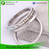 Yiwu imitation jewellery stainless steel jewelry sets gents diamond ring design three piece wedding ring sets