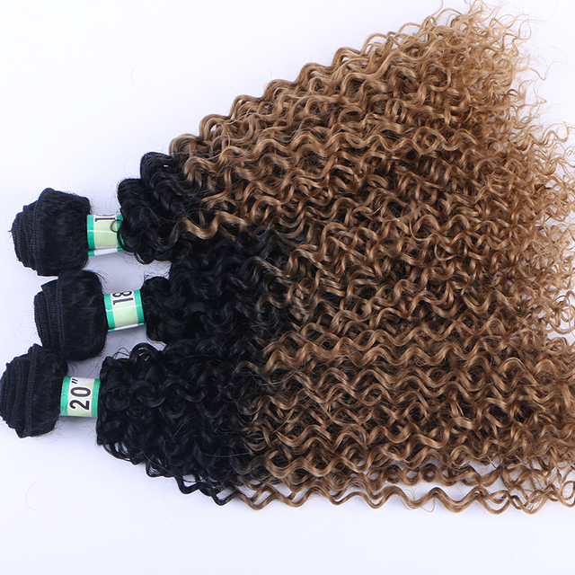 Factory price ombre 1b 27 kinky curl synthetic hair weft ombre 27 curly synthetic afro hair weaving