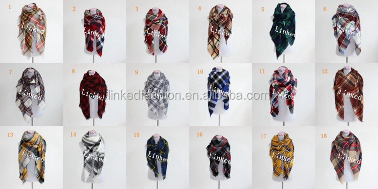 High quality 100 % wool plaid tartan fleece stripe scarf