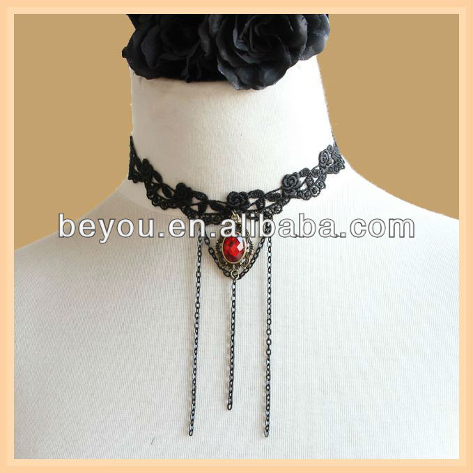 Vintage Gothic Lace Jewelry Bridal /bridesmaid Halloween Evil Spirit Choker Necklace False Collar