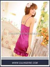 Purple cheap asian satin slip sexy babydoll lingerie