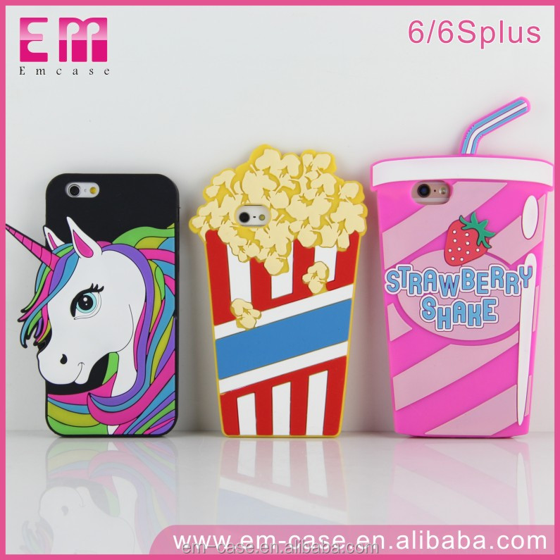Cute horse 3D silicone animal case for iPhone 7 fancy cell phone cases
