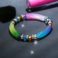 Gem Semi Precious Gemstone Charm Stretch Beaded Bracelet Unisex