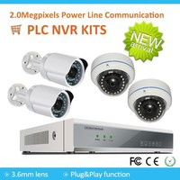 Hot Selling 4 Channels PLC HD Wireless 1080P 2.0 MP NVR Kits