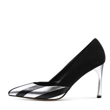 Ladies Black Color Pump heel Shoes Cheap Pu Dress Party Shoes Made in China