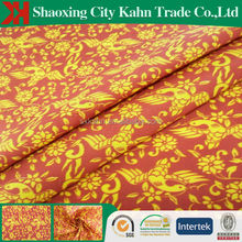 wholesale floral printed satin fabric gold bird pattern