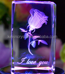 K9 crystal cube 3D laser crystal rose with LED base nice gift