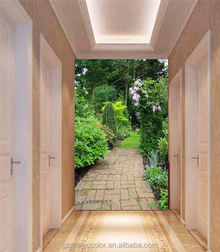 3d beautiful backyard garden designer wallpaper for door for Decoration porte patio