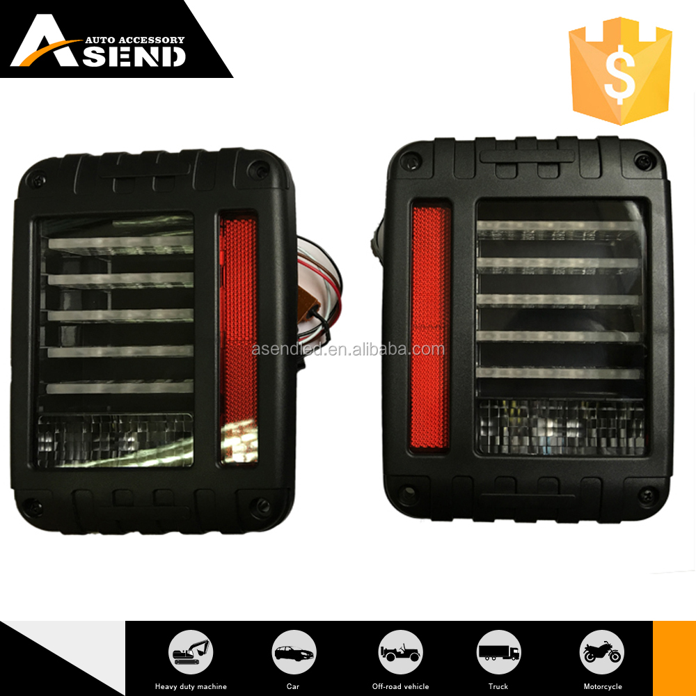 Wholesaling For 07-15 Jeep Wrangler Red LED Tail Lights Rear Brake Lamps