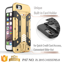 Multi angle stand credit card holder bumper back case cover for iphone 7 cell phone case