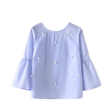 2017 Summer Women New Loose casual Shirt Blouse Elegant pearls O-neck 3/4 flare sleeve tops blusas