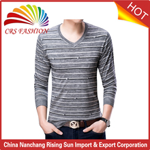 High quality v neck knitwear handmade men sweater design cool striped sweater