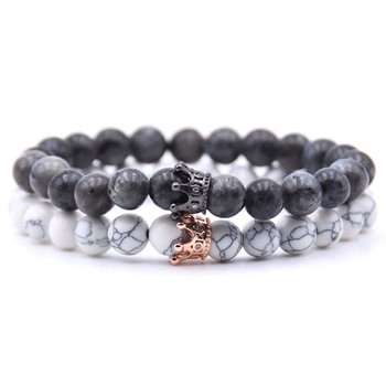 AP21554 Wholesale custom bead stone crown bracelet set jewelry for men and women dropshipping
